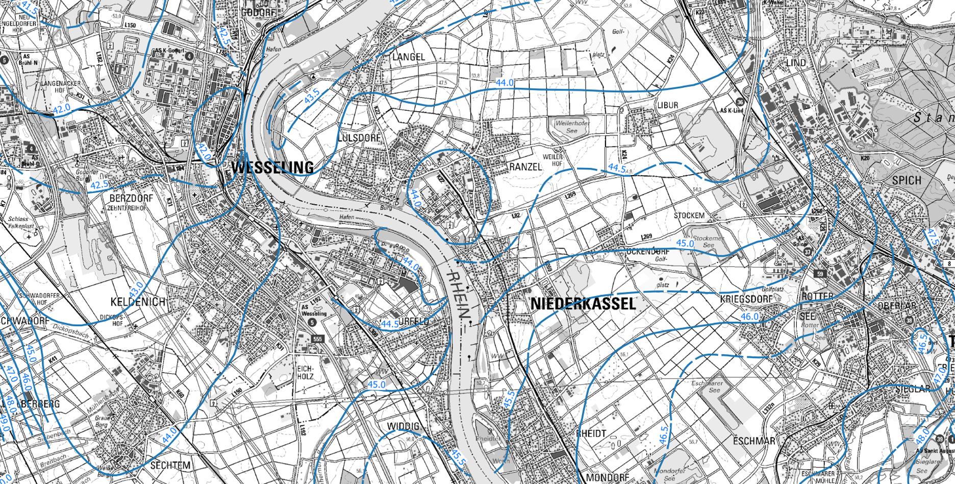 Planungsraum für die Rheinspange