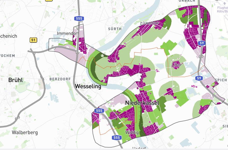 """Kartenmodul zur Raumanalyse """"Mensch""""- Darstellung der Siedlungsflächen und Erholungsräume"""